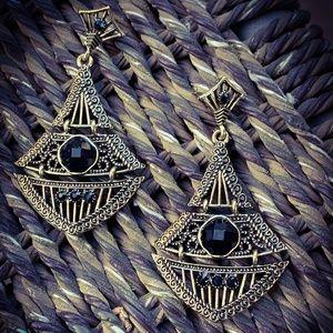 Antique Silver Boho Garnet Lantern Earrings